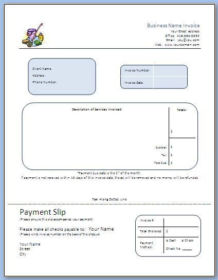 step 7 business forms - start a commercial cleaning business, Invoice templates